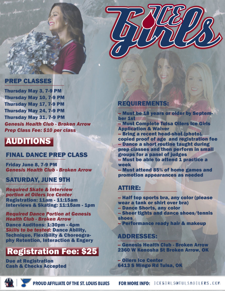 Ice Girls Audition Flyer | Tulsa Oilers