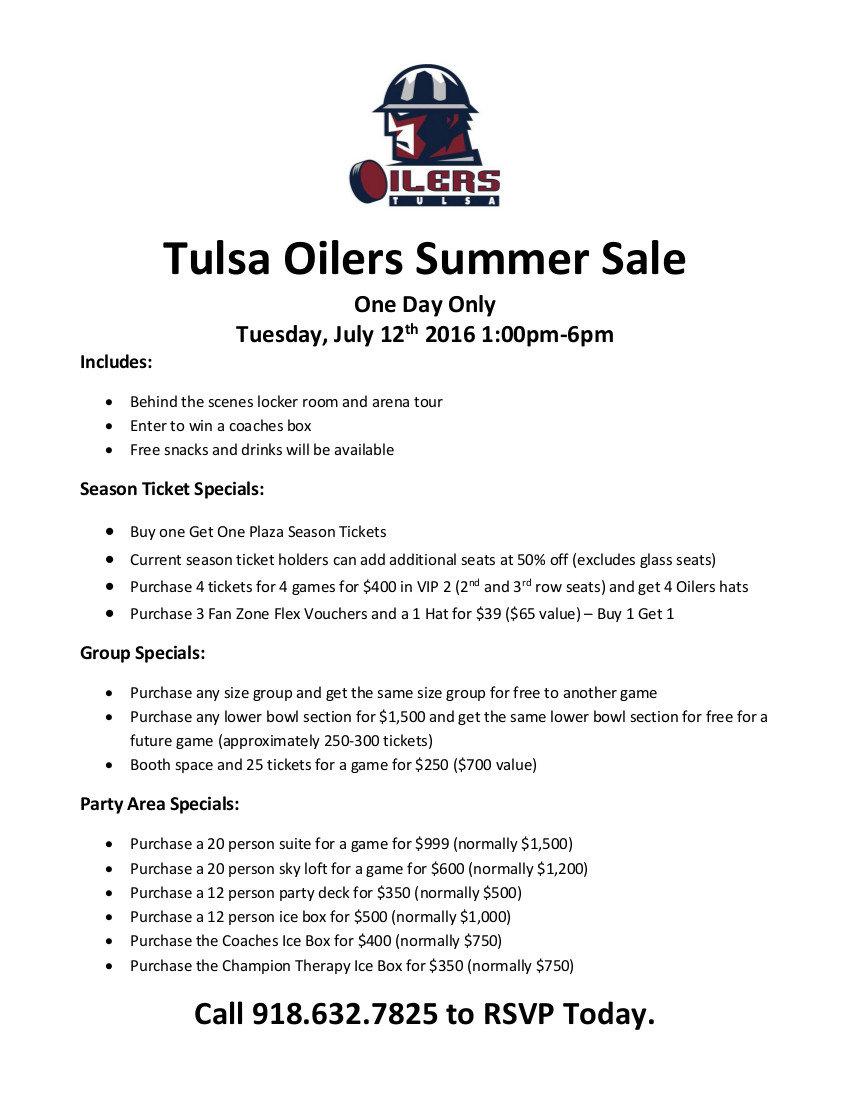 Tulsa Oilers Summer Sale